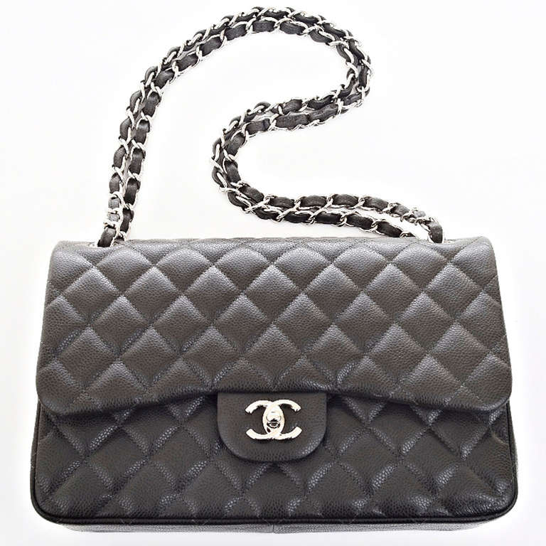 Grey Quilted Chanel Bag Chanel Dark Grey Quilted