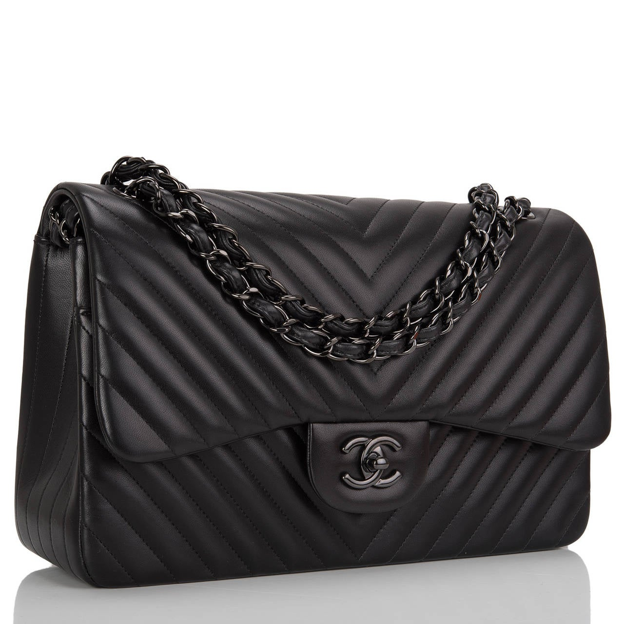 chanel so black chevron jumbo double flap bag at 1stdibs. Black Bedroom Furniture Sets. Home Design Ideas