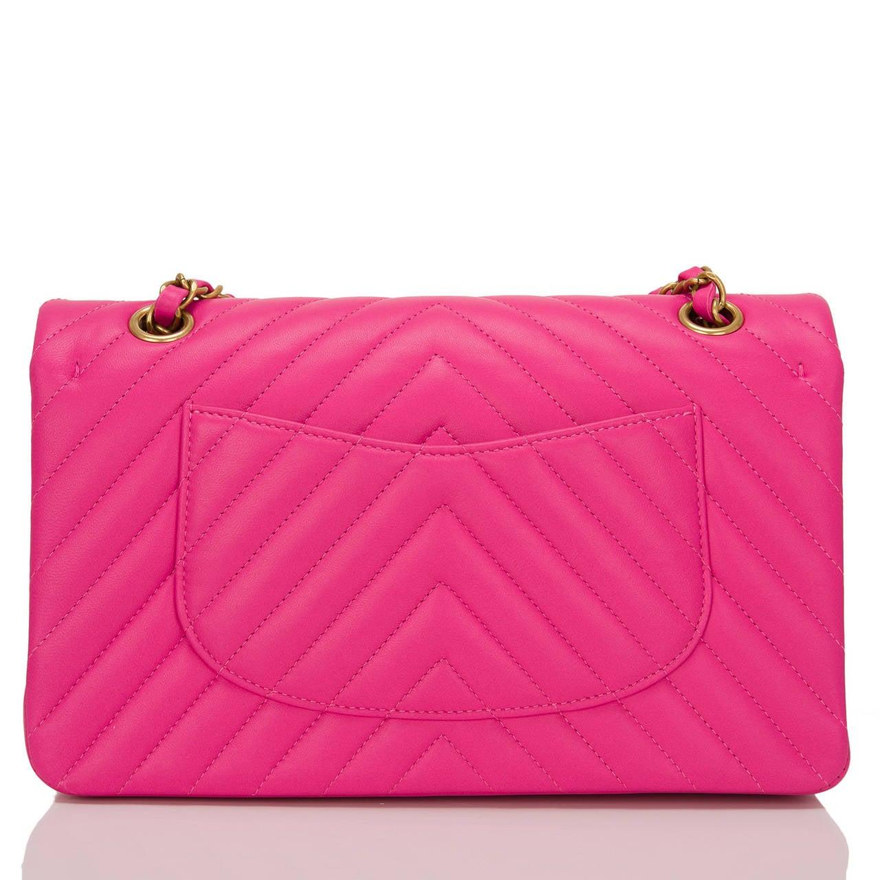Pink Chanel Fuchsia Chevron Medium Classic Double Flap Bag For Sale