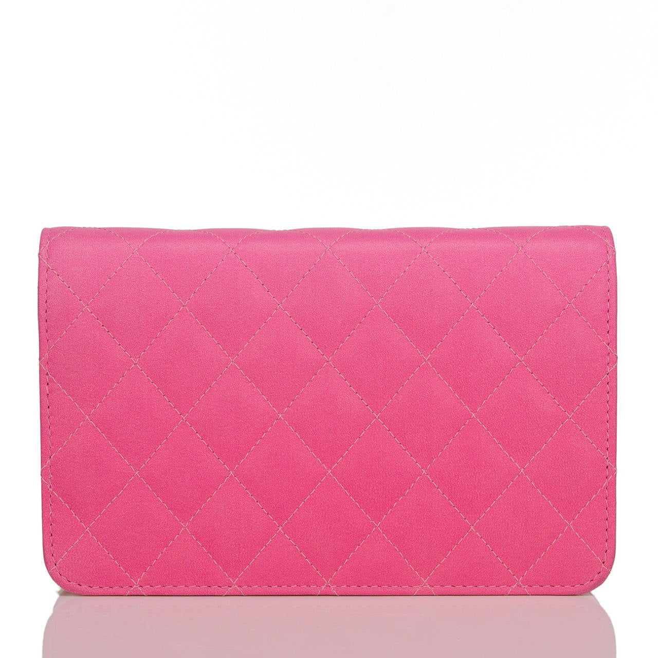 Chanel Bi-Color Pink Quilted Lambskin Wallet On Chain (WOC) In New Never_worn Condition For Sale In New York, NY