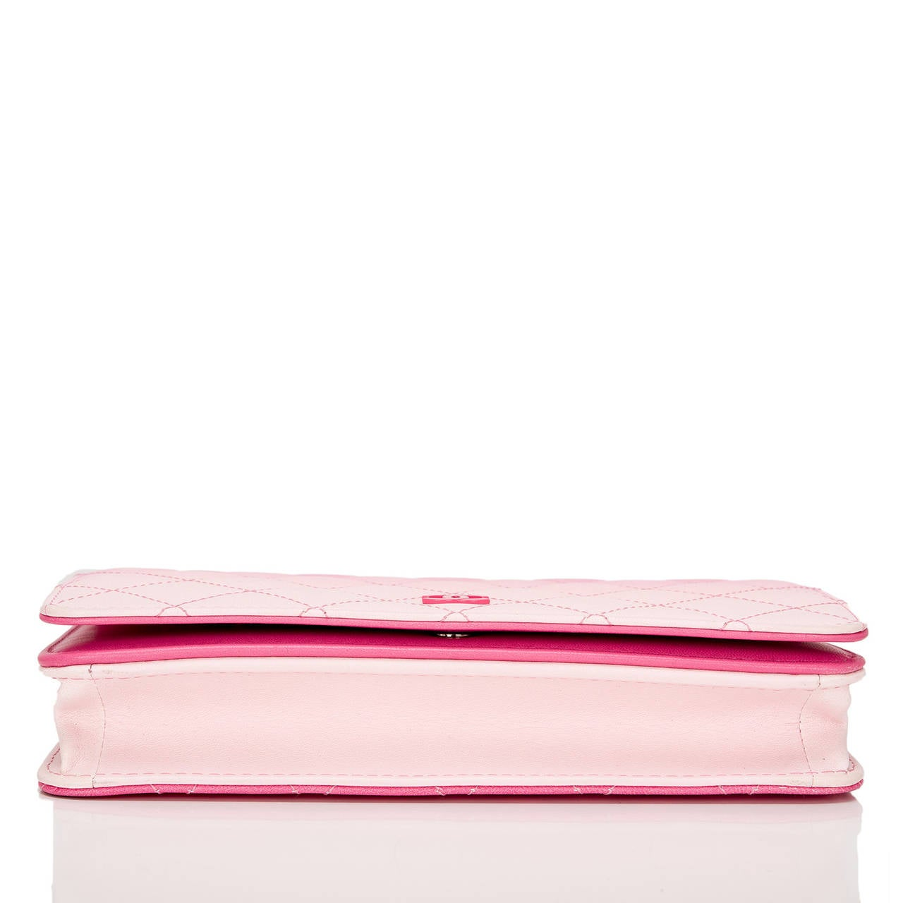 Women's Chanel Bi-Color Pink Quilted Lambskin Wallet On Chain (WOC) For Sale