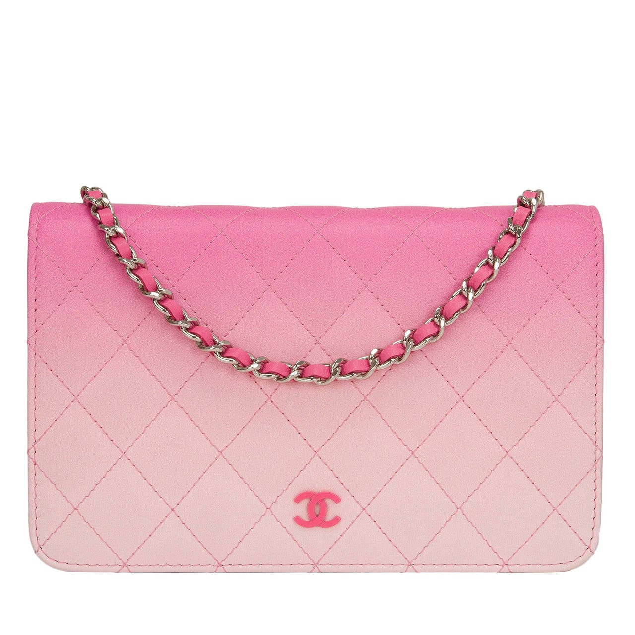 Chanel Bi Color Pink Quilted Lambskin Wallet On Chain Woc