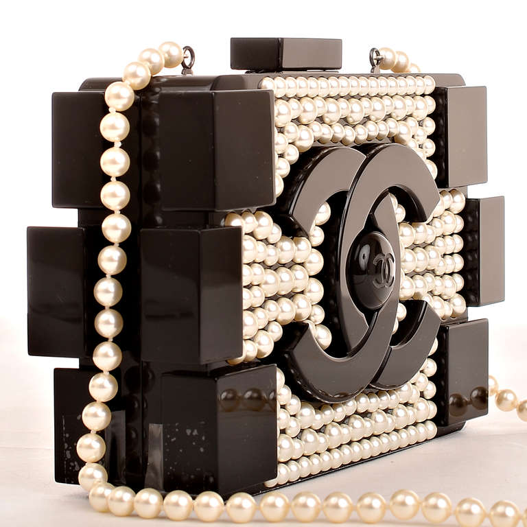 Black Chanel Pearlized Lego Clutch Minaudière For Sale