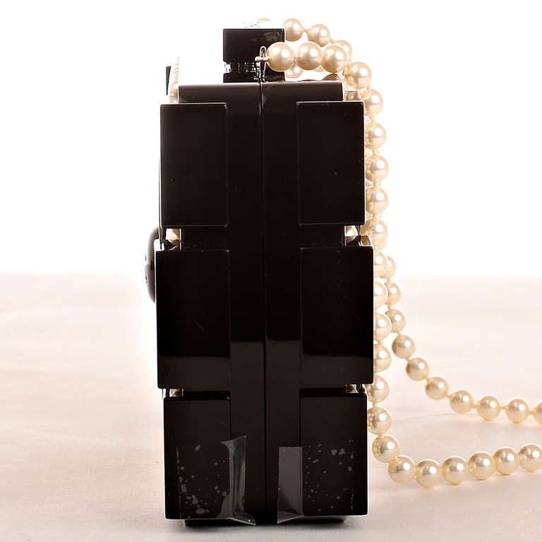 Chanel Pearlized Lego Clutch Minaudière In New never worn Condition For Sale In New York, NY