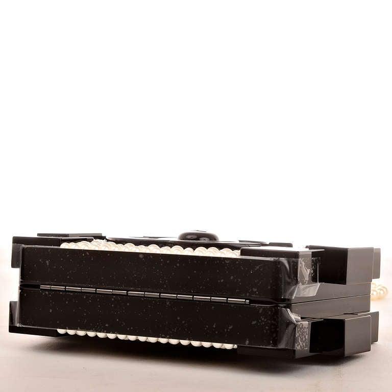 Chanel Pearlized Lego Clutch Minaudière For Sale 1