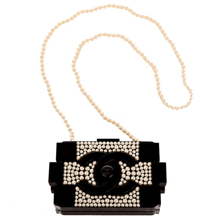 Chanel Pearlized Lego Clutch Minaudière For Sale 2