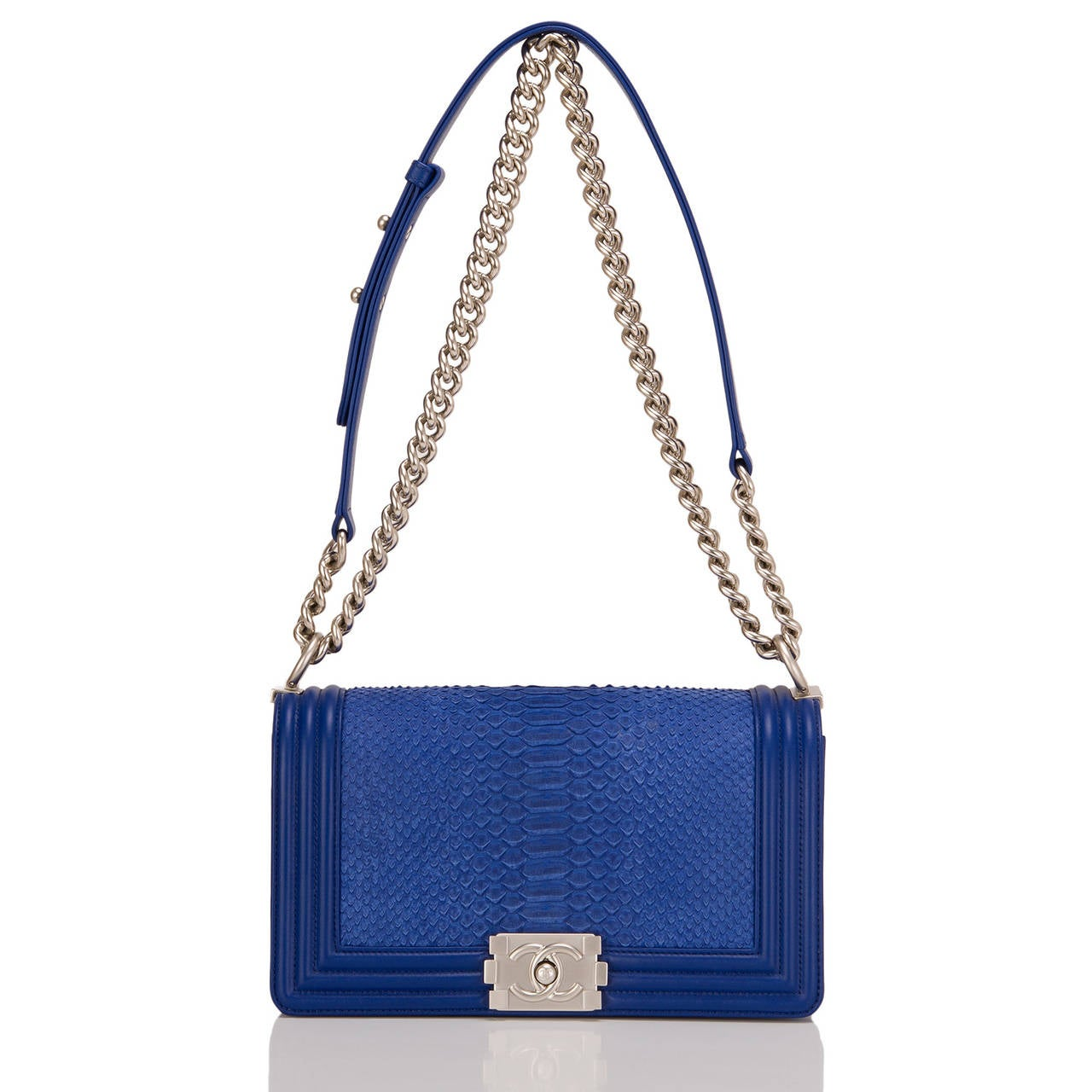 Chanel Blue Python Medium Boy Bag For Sale 1
