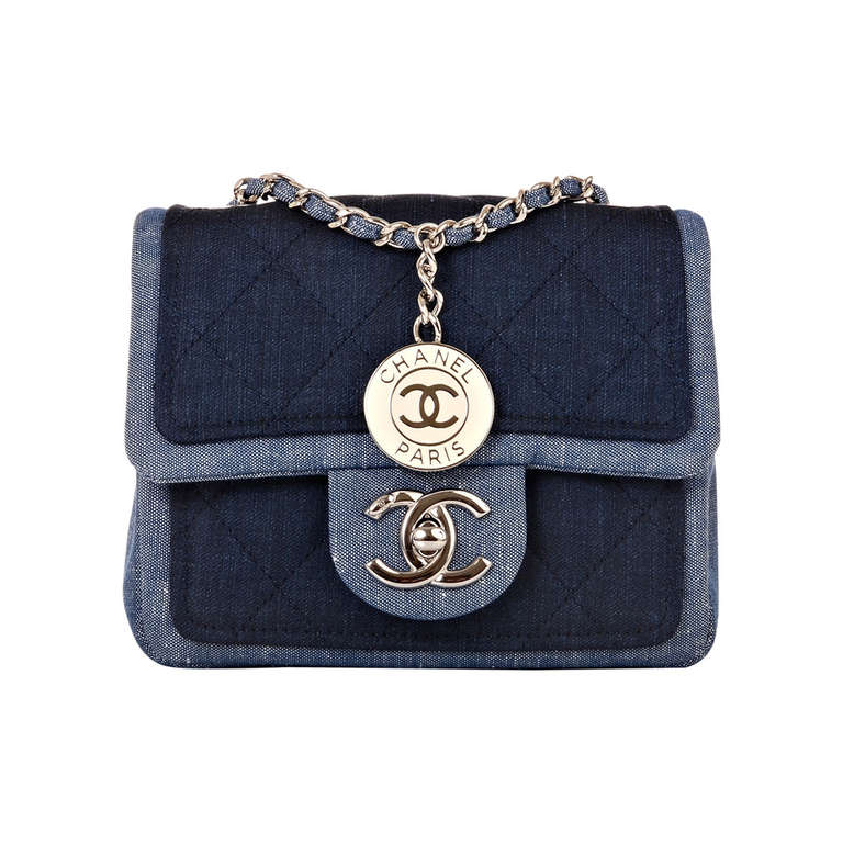 chanel quilted denim graphic small crossbody flap bag at