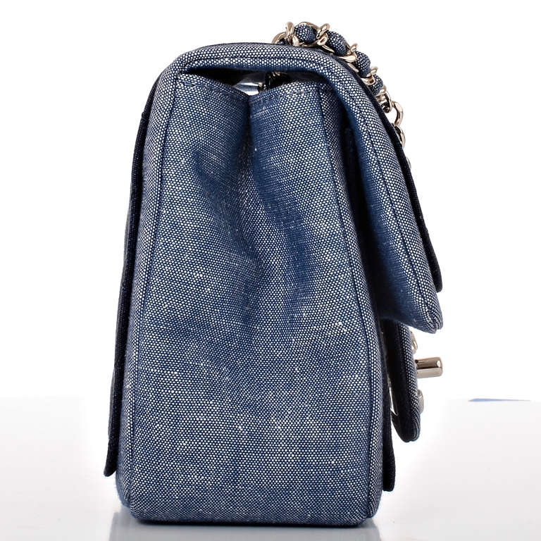 Chanel Quilted Denim Graphic Small Crossbody Flap Bag In New never worn Condition For Sale In New York, NY