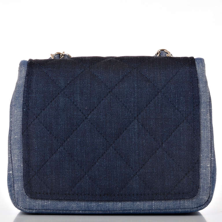 Women's Chanel Quilted Denim Graphic Small Crossbody Flap Bag For Sale