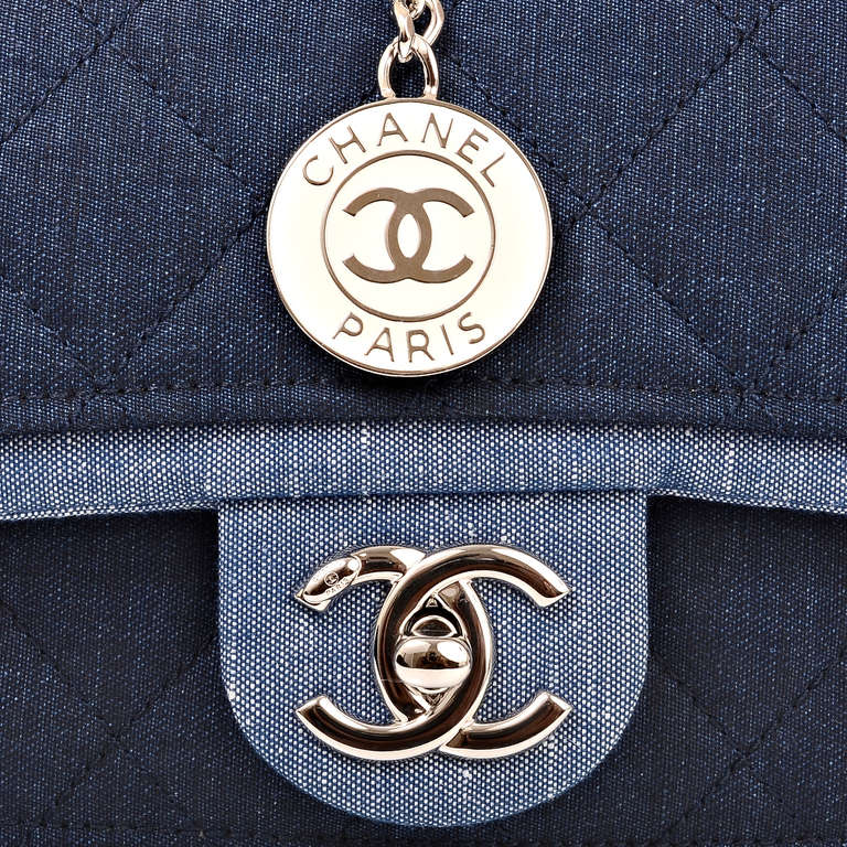 Chanel Quilted Denim Graphic Small Crossbody Flap Bag For Sale 2