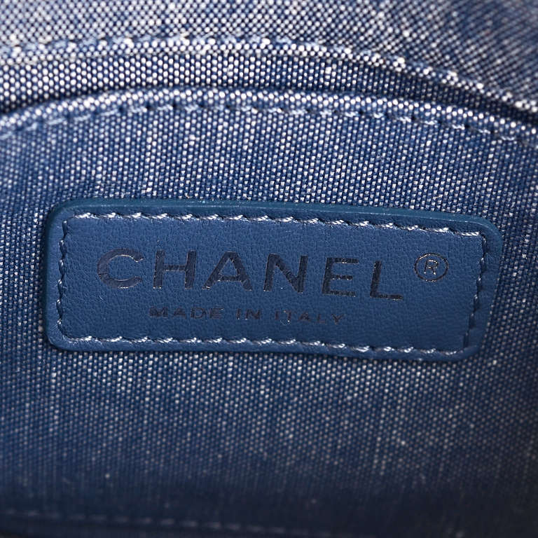 Chanel Quilted Denim Graphic Small Crossbody Flap Bag For Sale 5