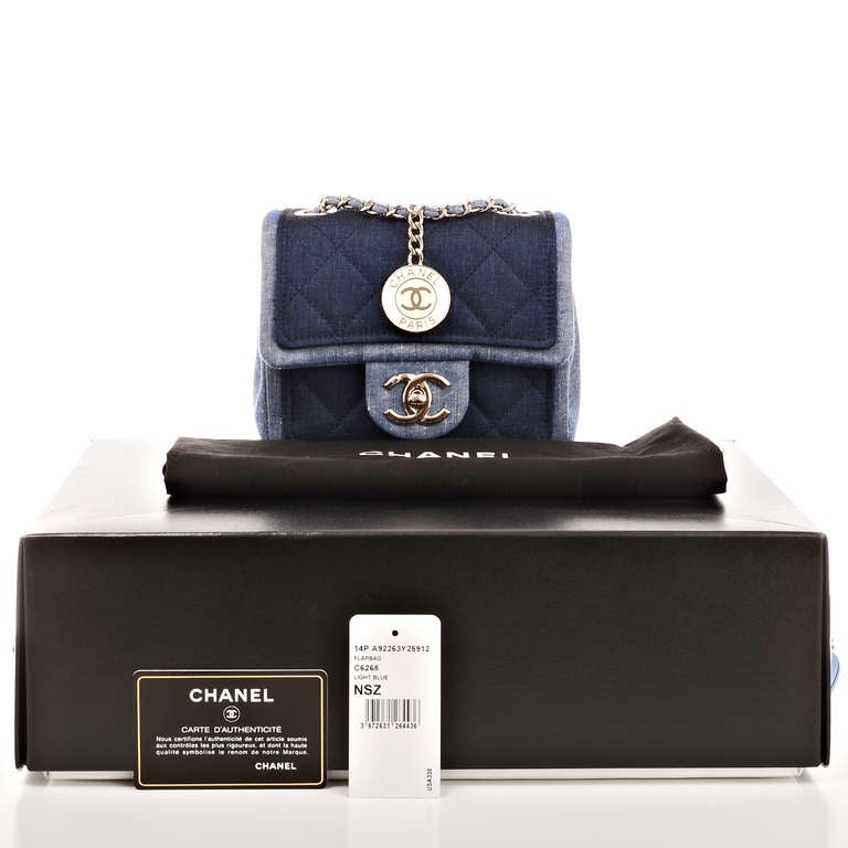 Chanel Quilted Denim Graphic Small Crossbody Flap Bag For Sale 6