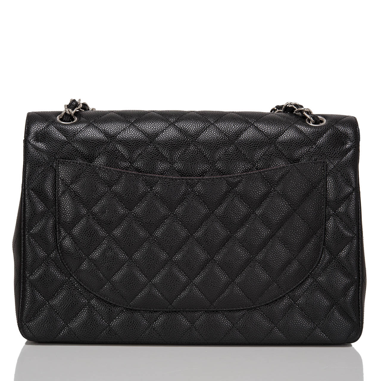 Chanel Black Quilted Caviar Maxi Classic Double Flap Bag In New never worn Condition For Sale In New York, NY