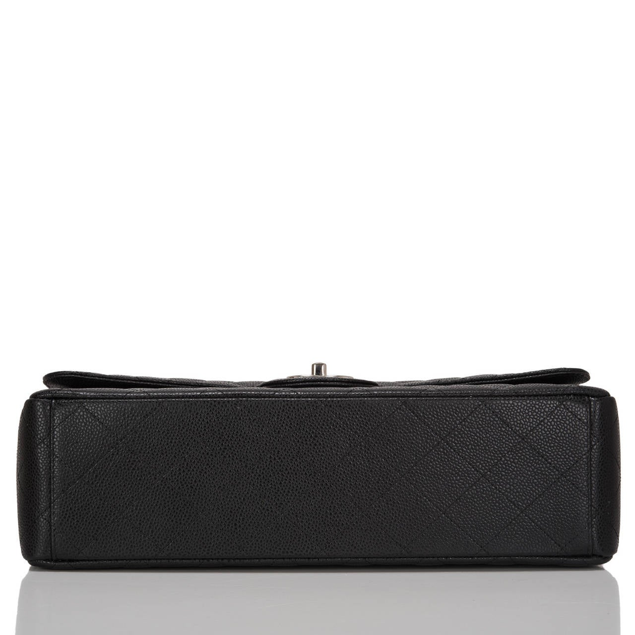 Women's Chanel Black Quilted Caviar Maxi Classic Double Flap Bag For Sale