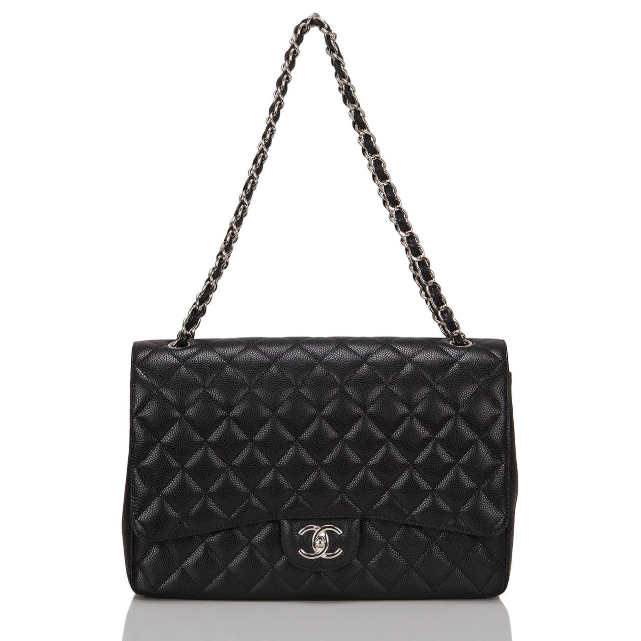 Chanel Black Quilted Caviar Maxi Classic Double Flap Bag For Sale 1