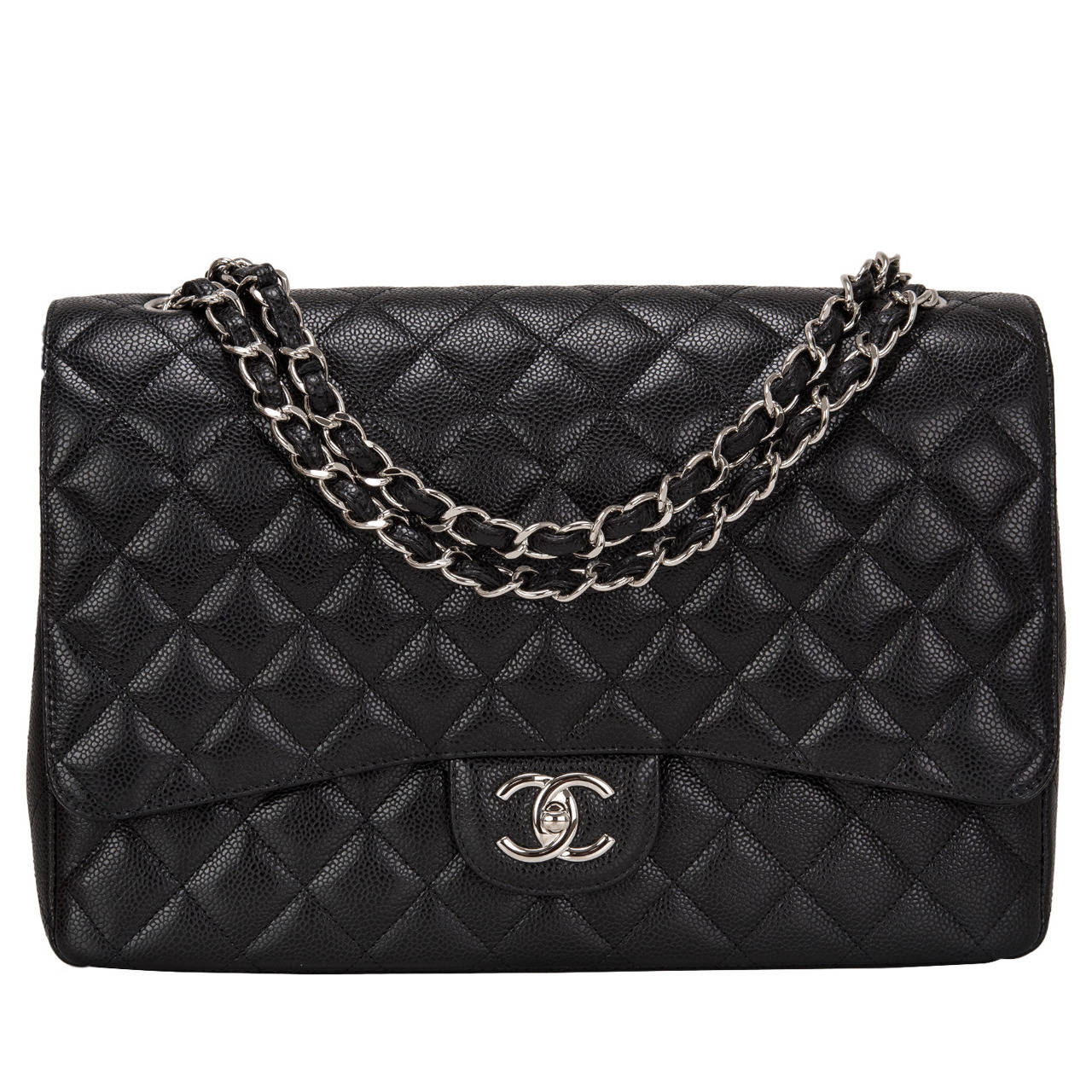 Chanel Black Quilted Caviar Maxi Classic Double Flap Bag For Sale