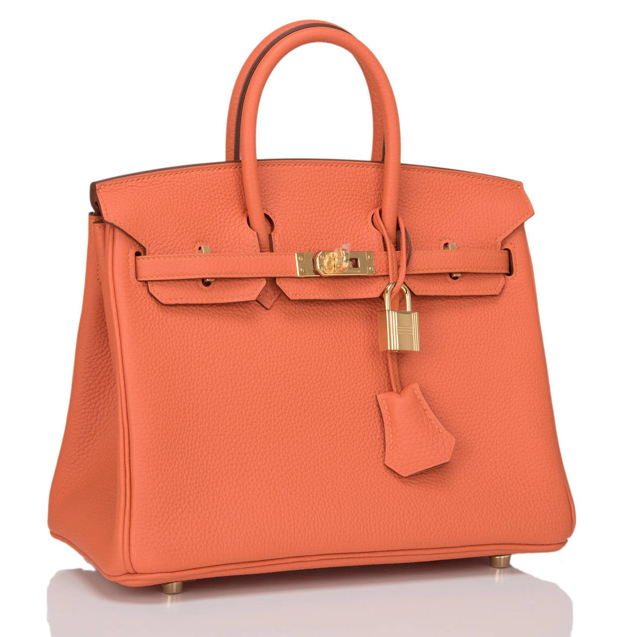 Hermes Feu Birkin 25cm in swift leather with gold hardware.  This style features tonal stitching, front toggle closure, clochette with lock and two keys, and double rolled handles.  The interior is lined in Feu chevre with one zip pocket with an