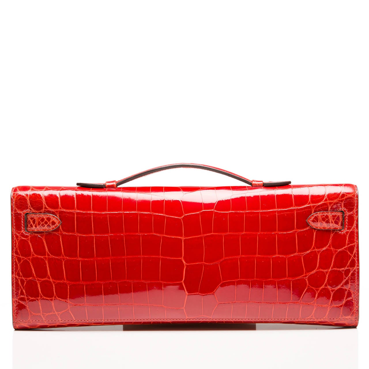 Hermes Sanguine Shiny Porosus Crocodile Kelly Cut In New never worn Condition For Sale In New York, NY