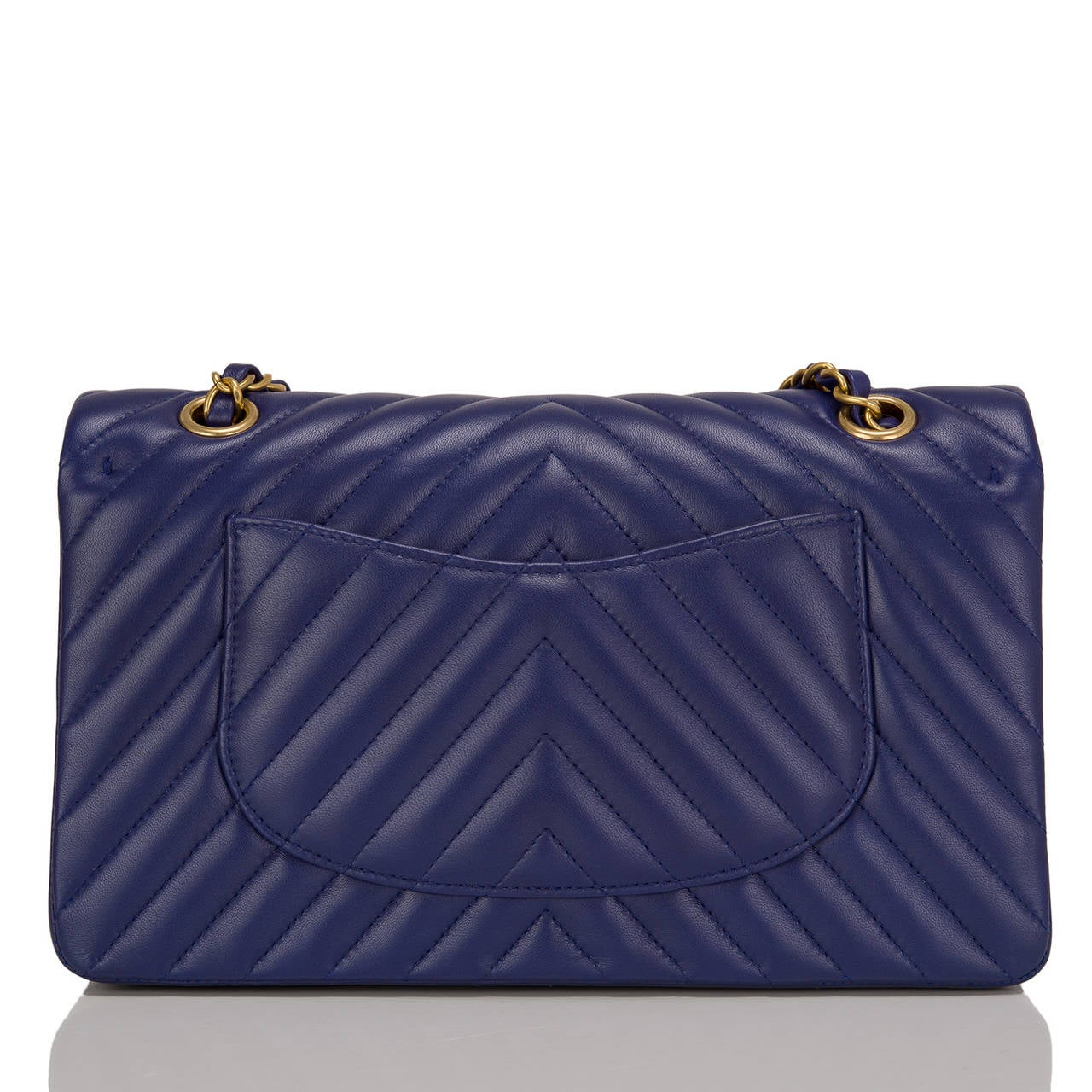 Purple Chanel Blue Chevron Medium Classic Double Flap Bag For Sale