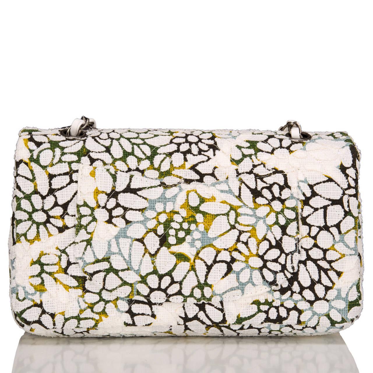 Beige Chanel Floral Medium Classic Double Flap Bag For Sale