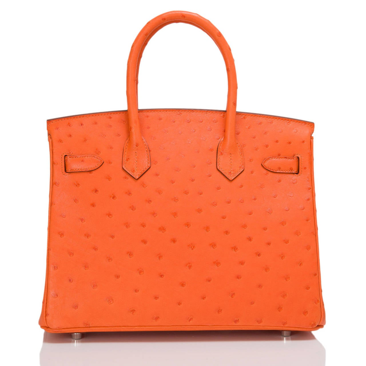 Hermes Tangerine Ostrich Birkin 30cm In New never worn Condition For Sale In New York, NY