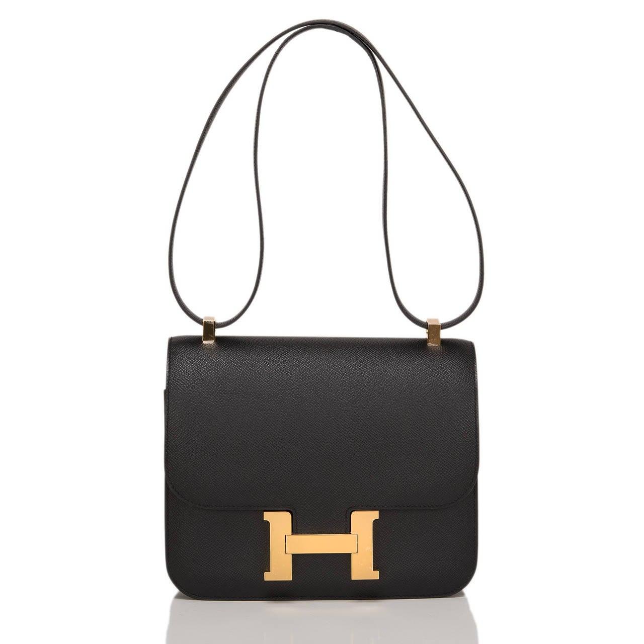 Hermes Black Epsom Constance 24cm Gold Hardware For Sale 1