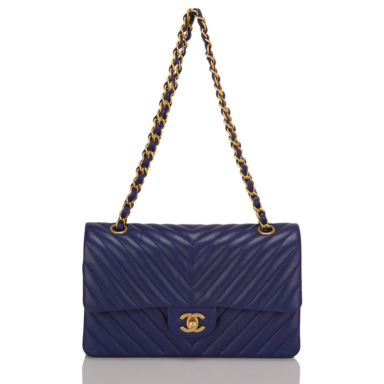 Women's Chanel Blue Chevron Medium Classic Double Flap Bag For Sale