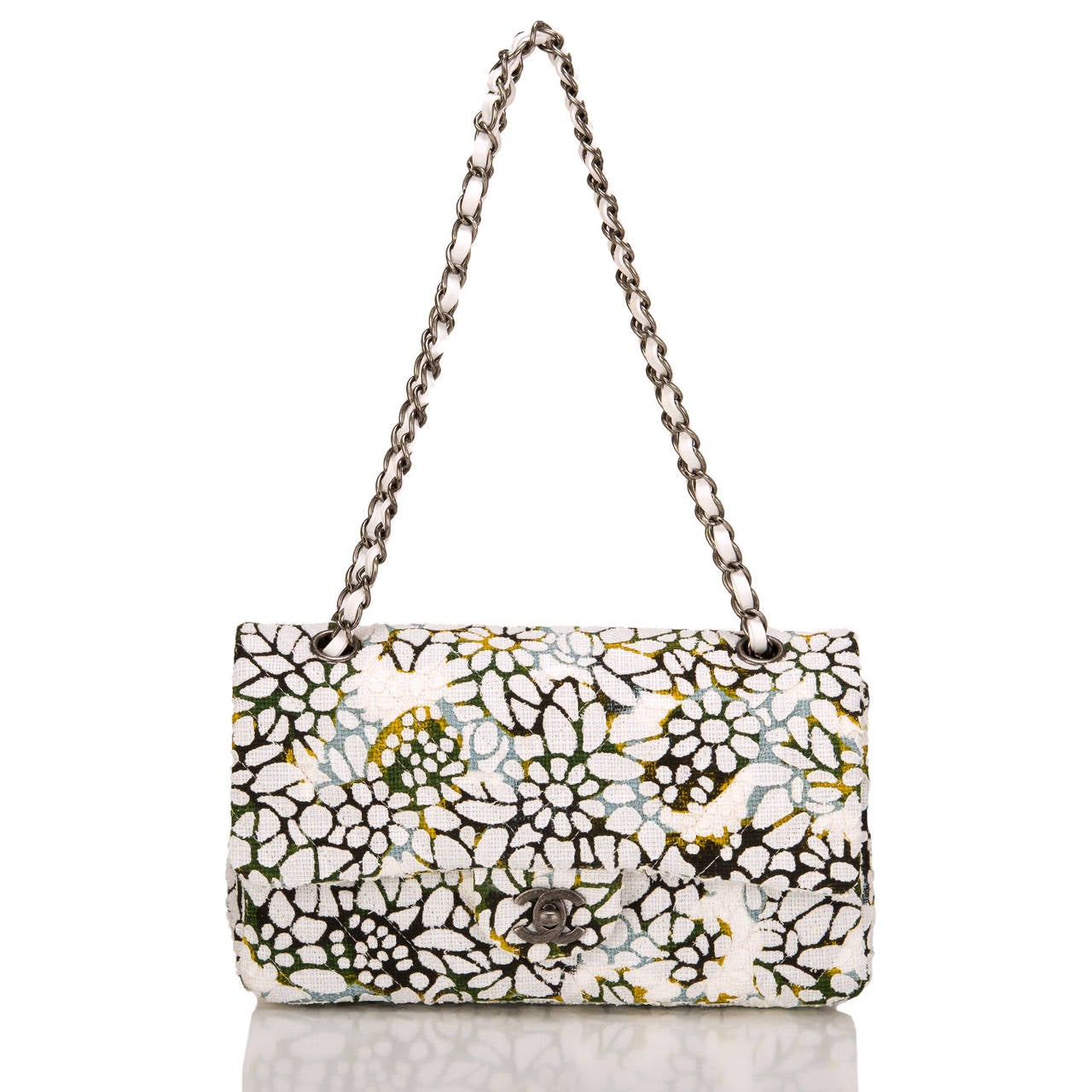 Women's Chanel Floral Medium Classic Double Flap Bag For Sale