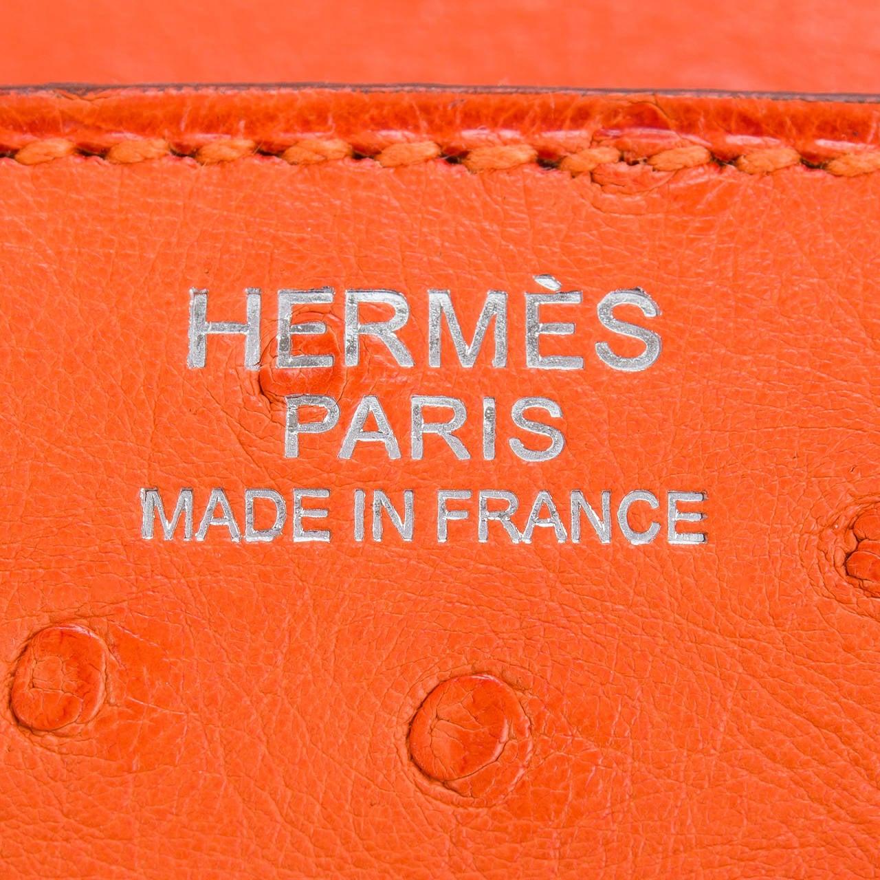 Hermes Tangerine Ostrich Birkin 30cm For Sale 1