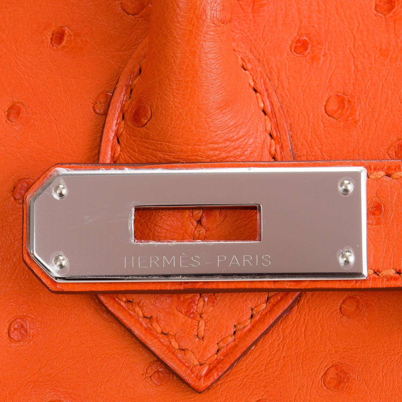 Hermes Tangerine Ostrich Birkin 30cm For Sale 2
