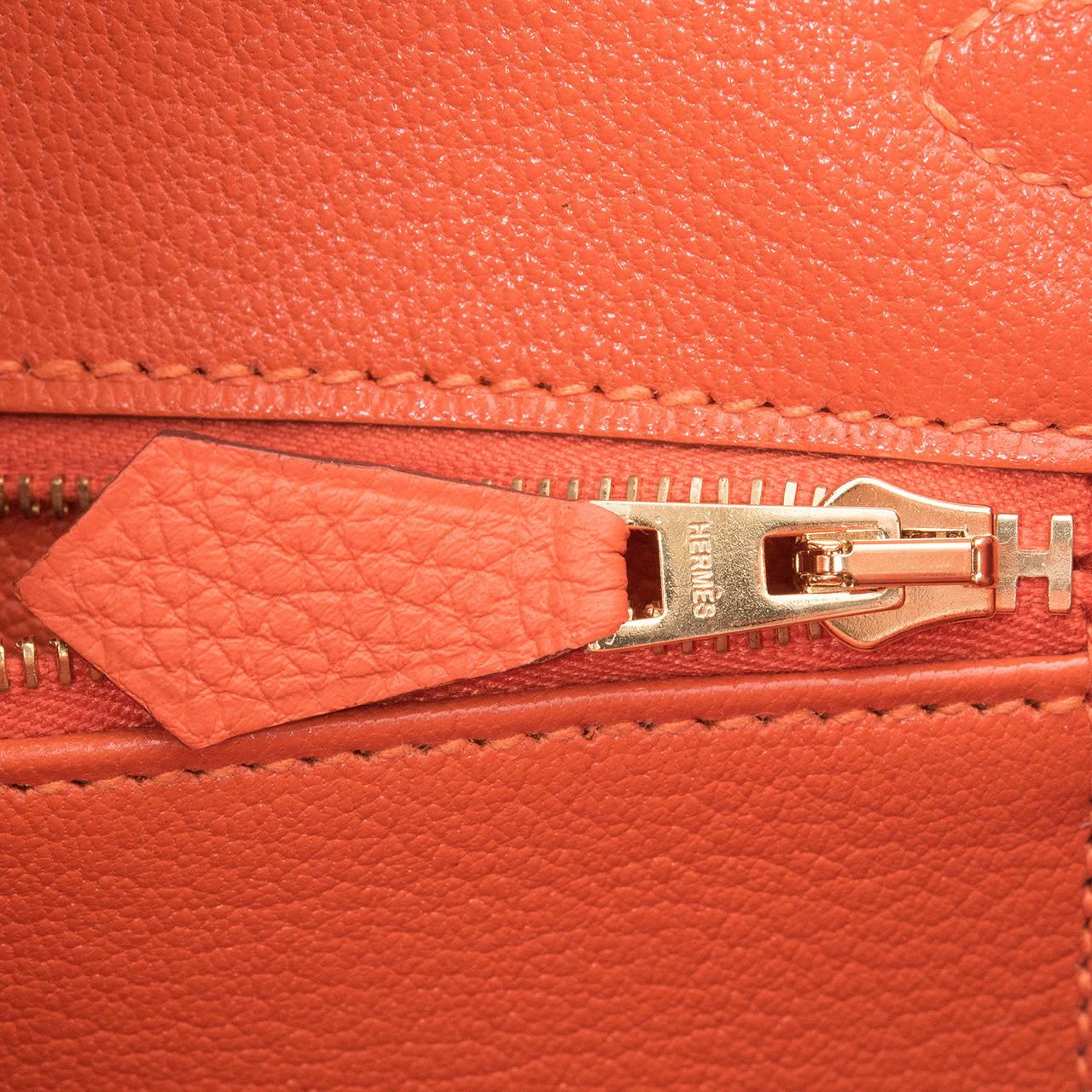 Hermes Feu Togo Birkin 25cm Gold Hardware For Sale 4
