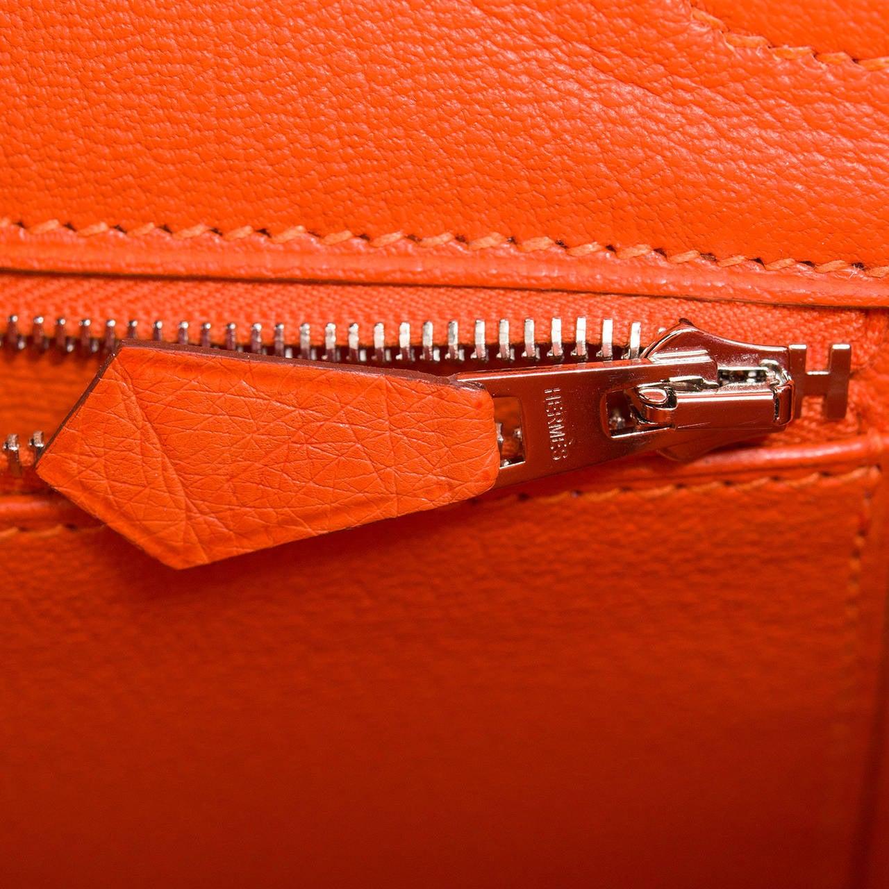 Hermes Tangerine Ostrich Birkin 30cm For Sale 3