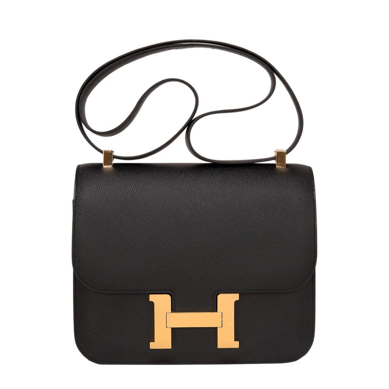 Hermes Black Epsom Constance 24cm Gold Hardware For Sale
