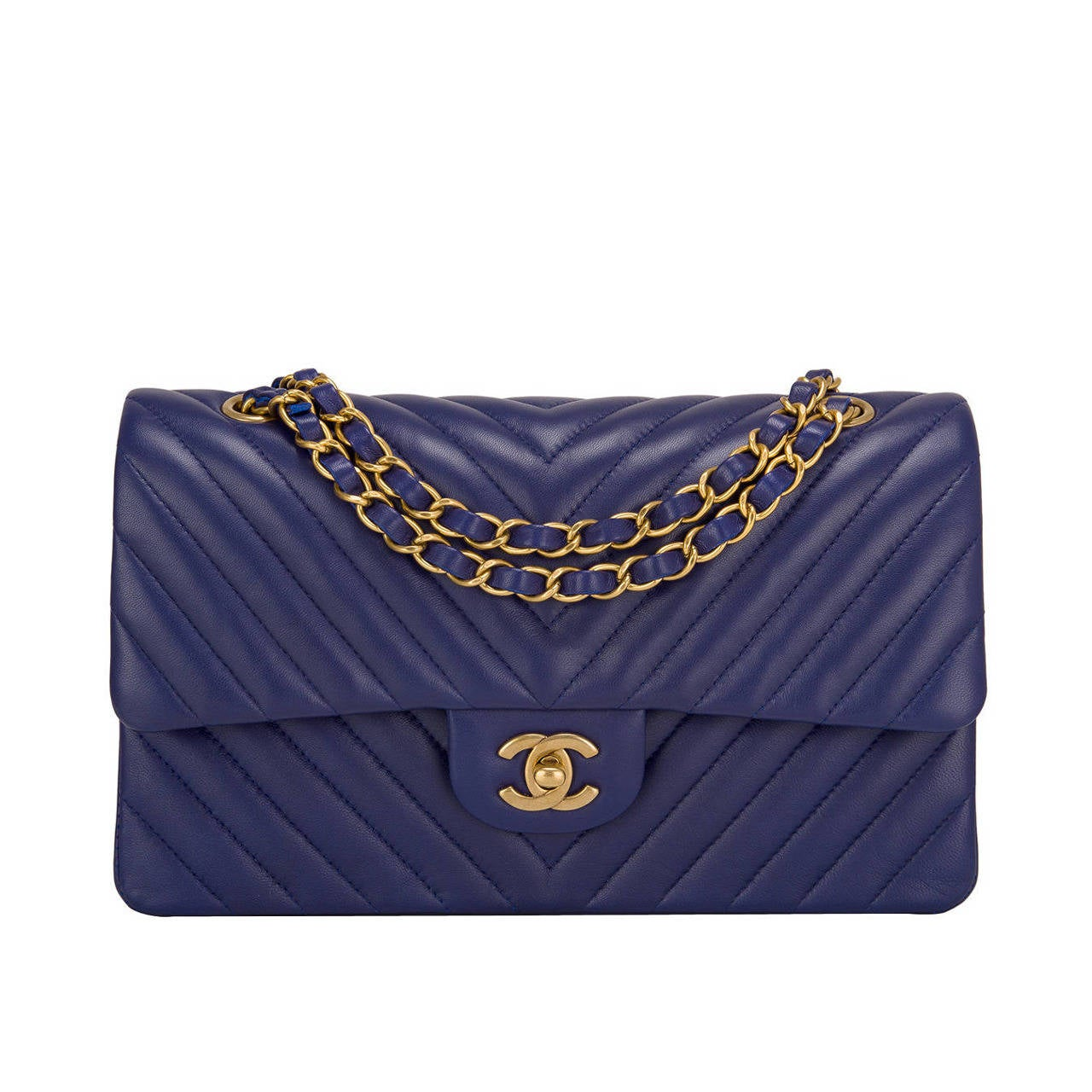 Chanel Blue Chevron Medium Classic Double Flap Bag For Sale