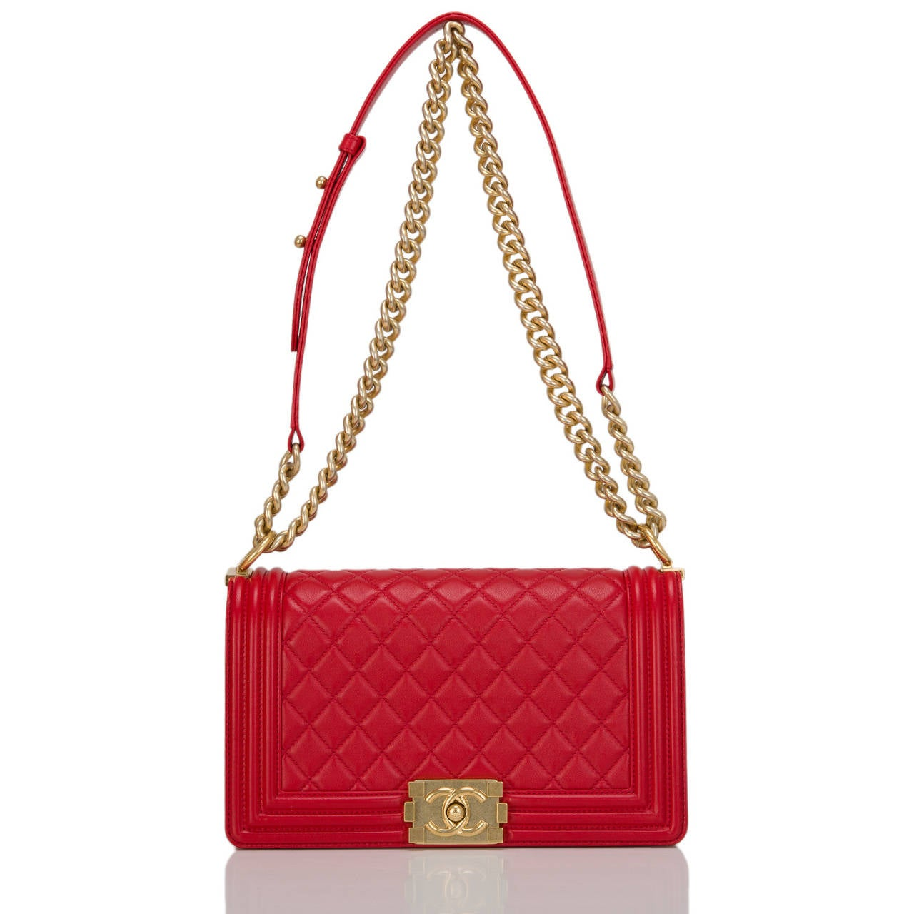 Chanel Red Quilted Lambskin Medium Boy Bag For Sale 1