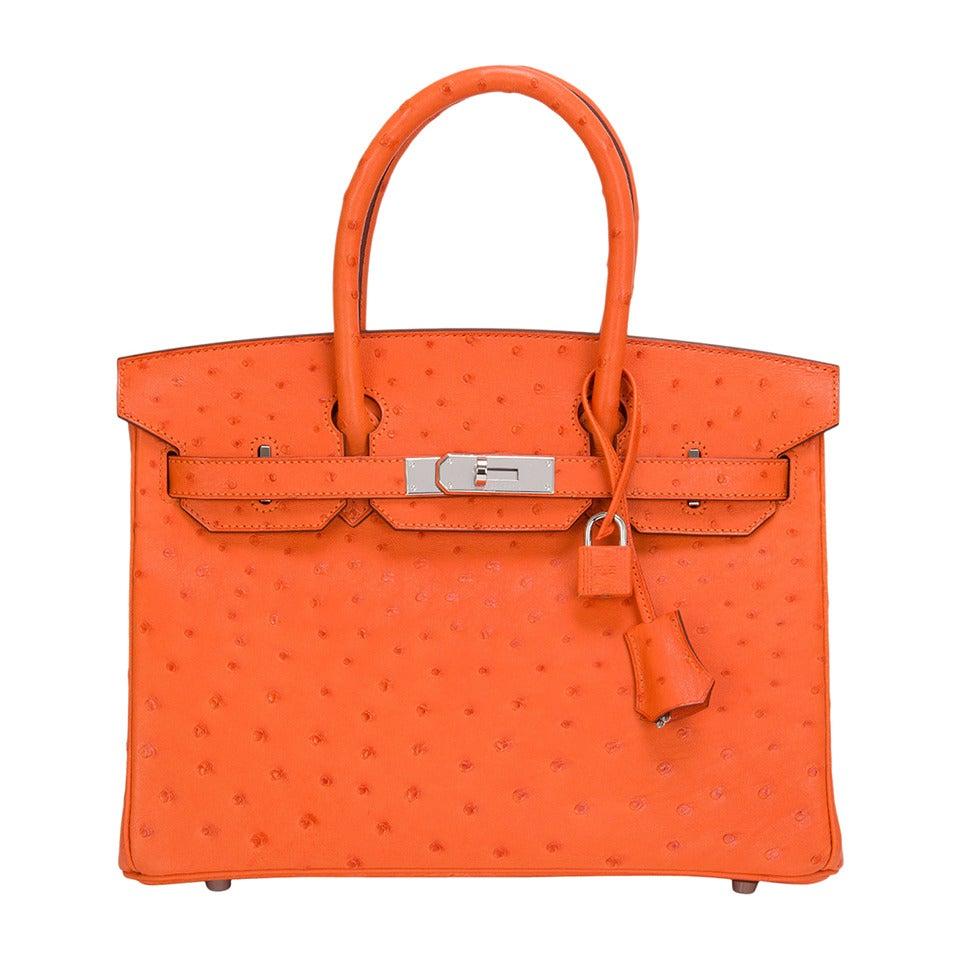 Hermes Tangerine Ostrich Birkin 30cm For Sale