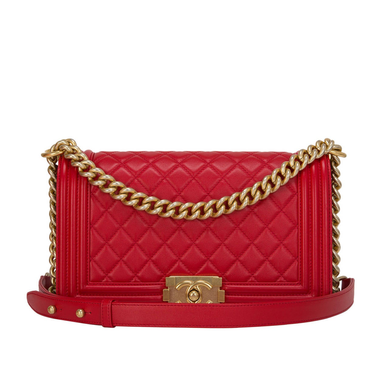 Chanel Red Quilted Lambskin Medium Boy Bag For Sale