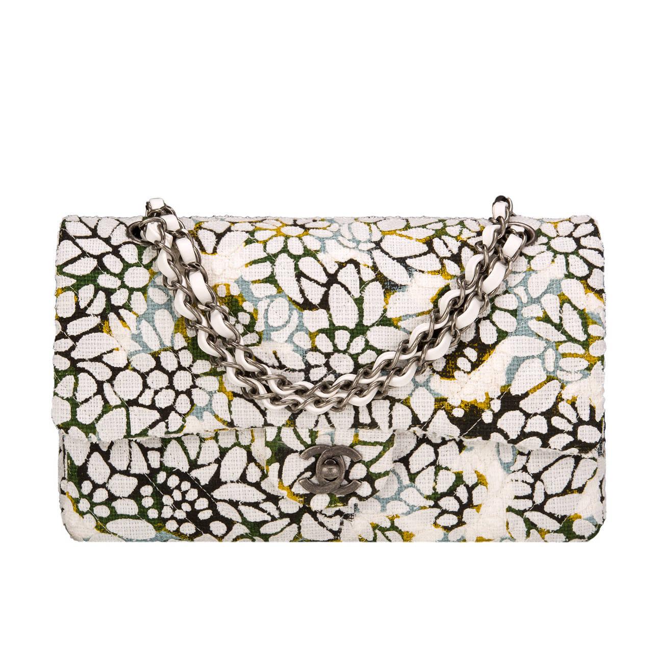 Chanel Floral Medium Classic Double Flap Bag For Sale