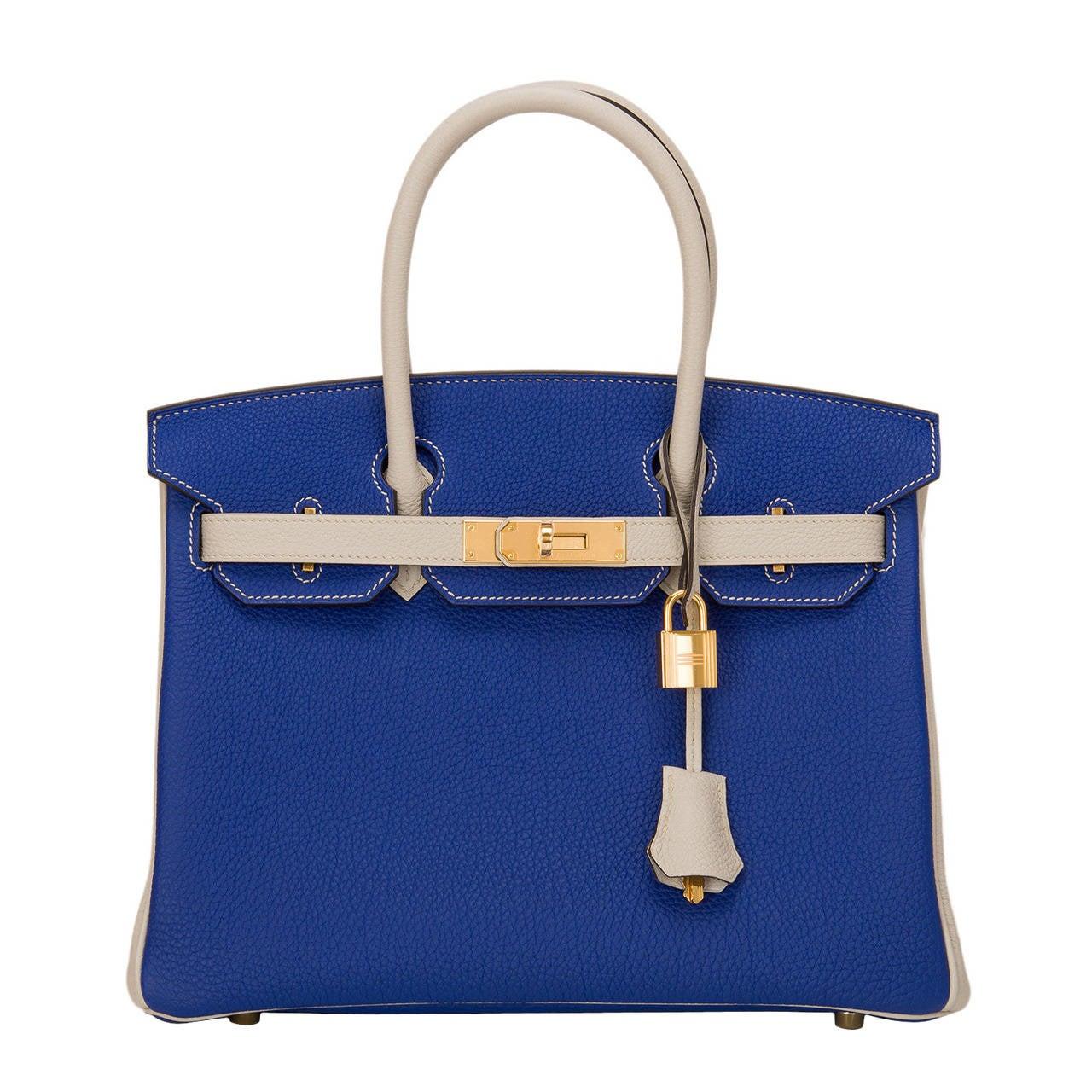 Hermes Bi Color So Bue Electric And Gris T Togo Birkin