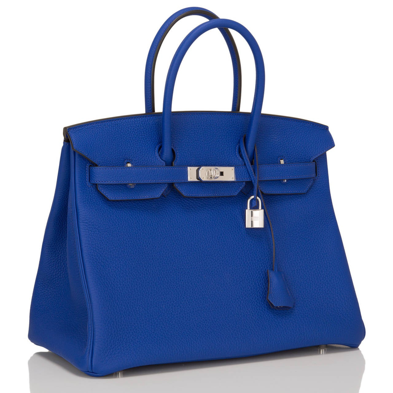 This Hermes Blue Electric 35cm in togo (bull) leather with palladium hardware.