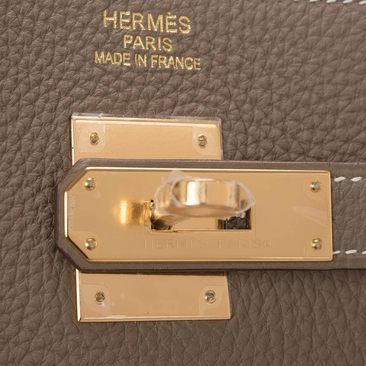 Hermes Etoupe Togo Birkin 40cm Gold Hardware For Sale at 1stdibs