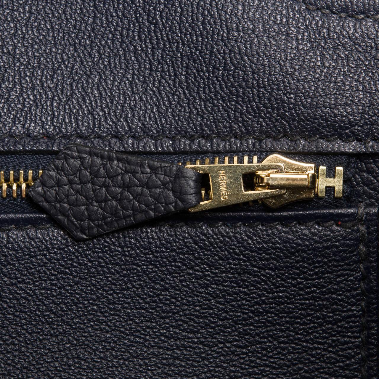Hermes Blue Indigo 35cm Clemence Birkin Bag with Gold Hardware