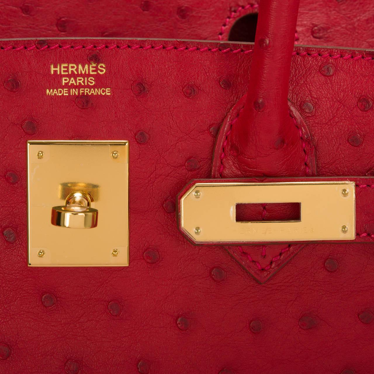 hermes 35cm ostrich birkin bag rouge vif gold hardware