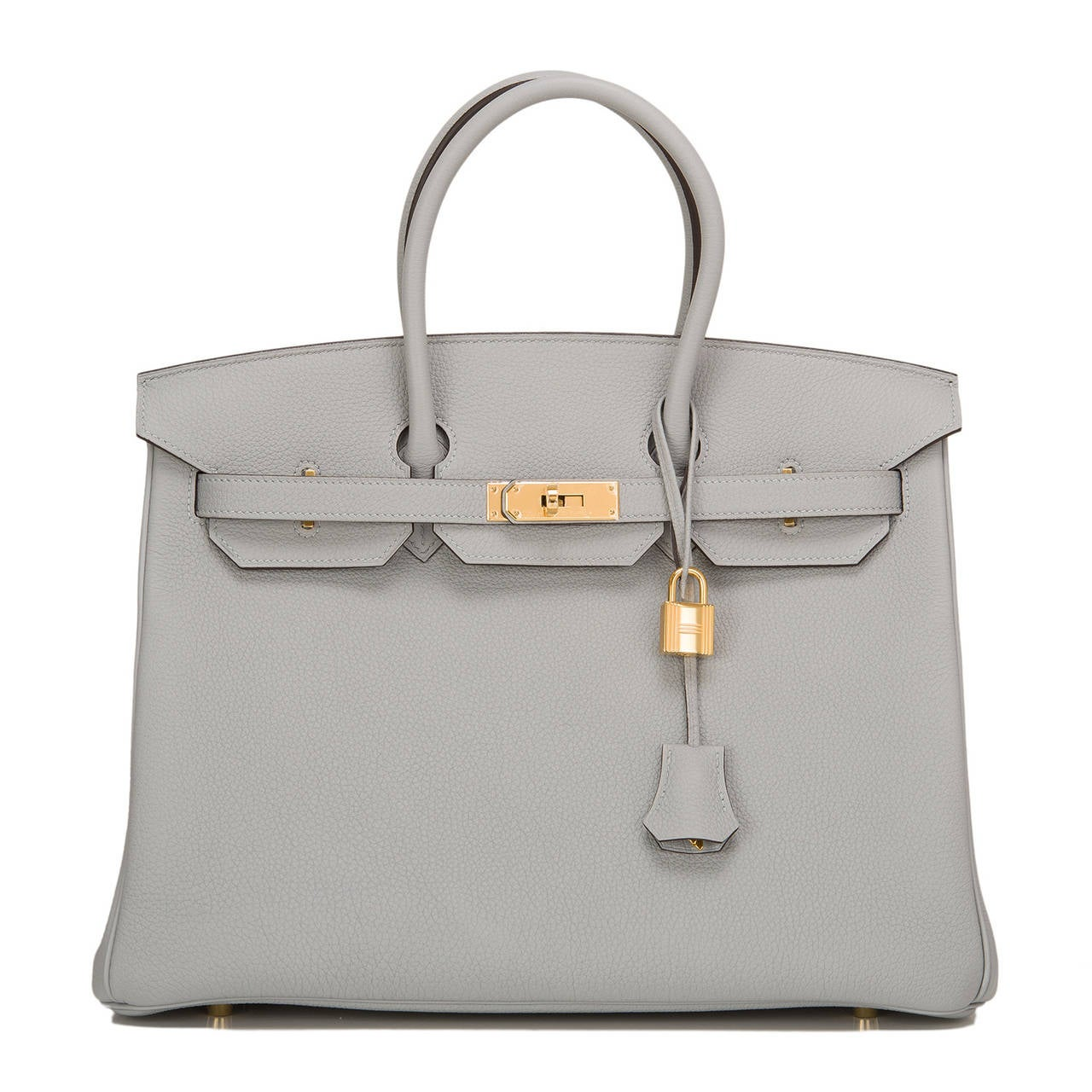 Hermes Blue Glacier Birkin 35cm in togo (bull) leather with gold hardware.