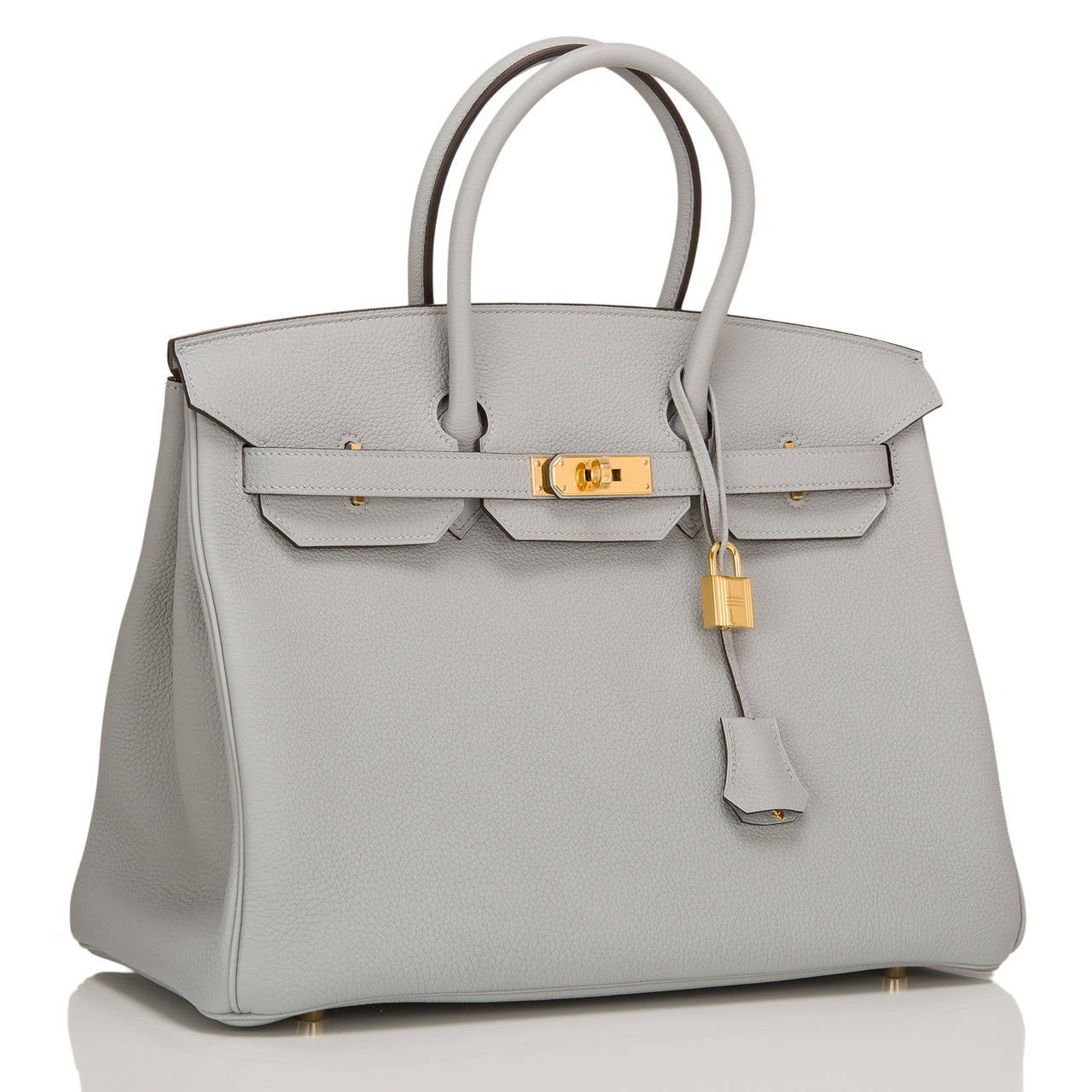 Hermes Blue Glacier Togo Birkin 35cm Gold Hardware In New never worn Condition For Sale In New York, NY
