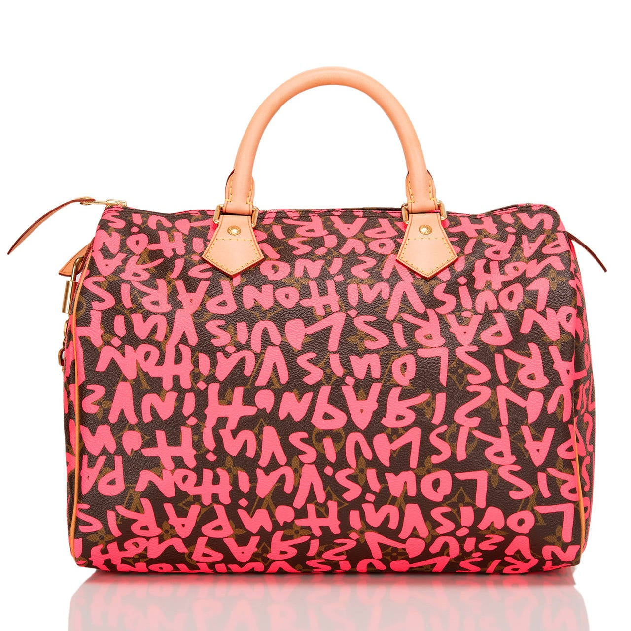 Louis Vuitton Fuchsia Pink Monogram Graffiti Speedy 30 In New Never_worn Condition For Sale In New York, NY