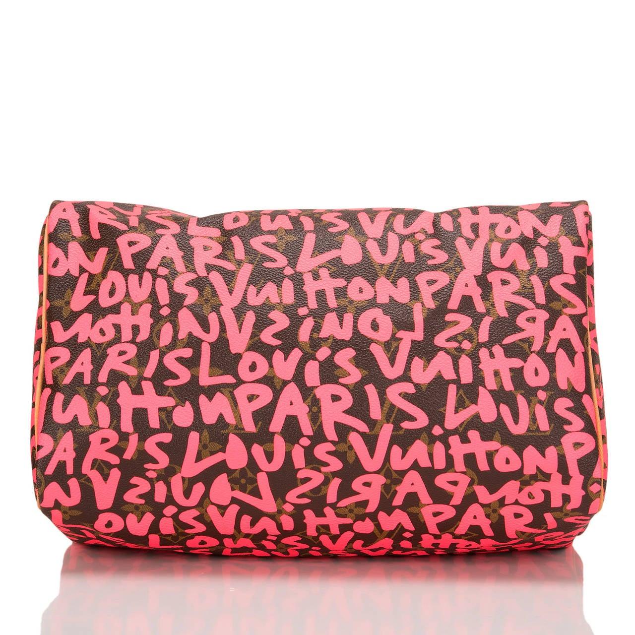 Women's Louis Vuitton Fuchsia Pink Monogram Graffiti Speedy 30 For Sale