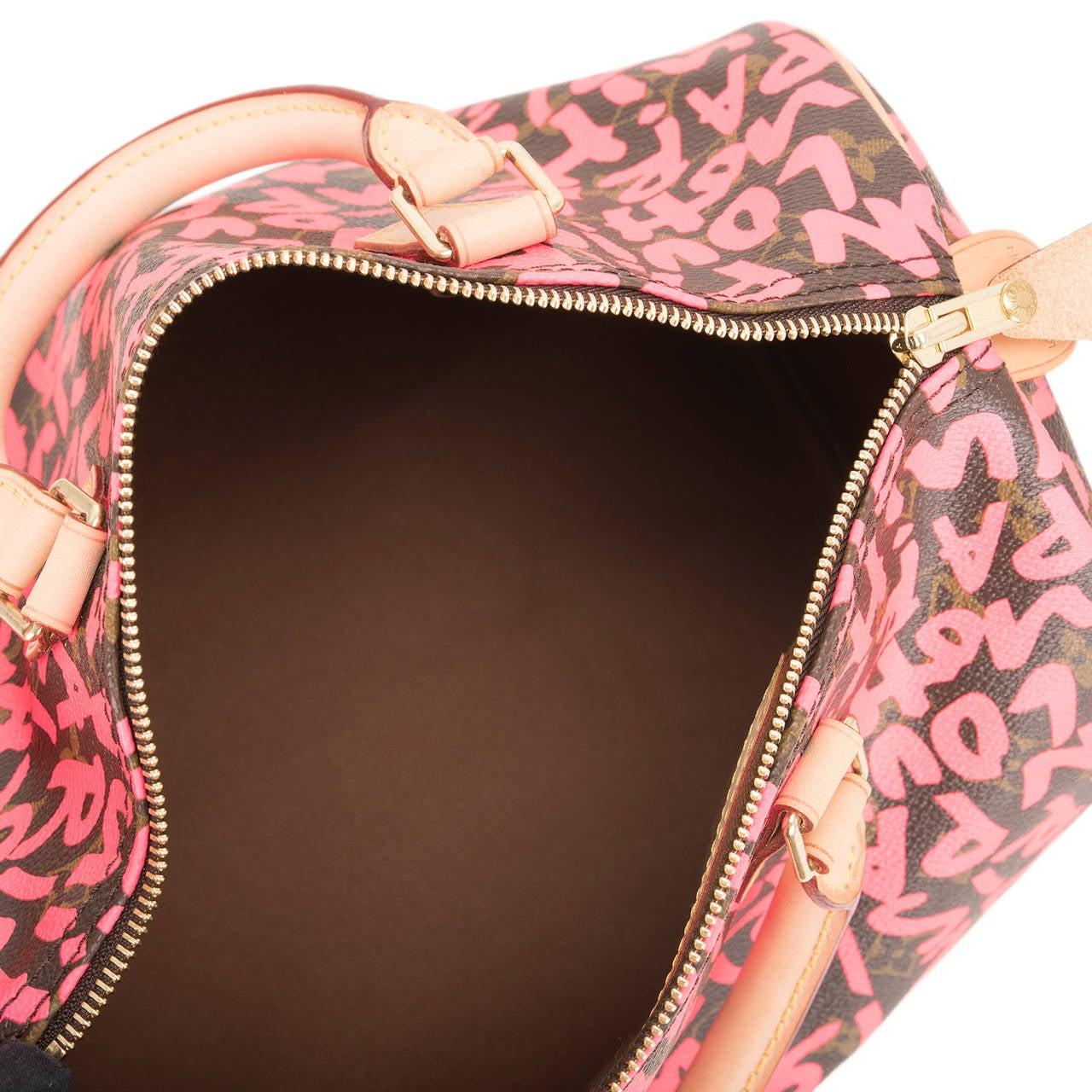 Louis Vuitton Fuchsia Pink Monogram Graffiti Speedy 30 For Sale 2