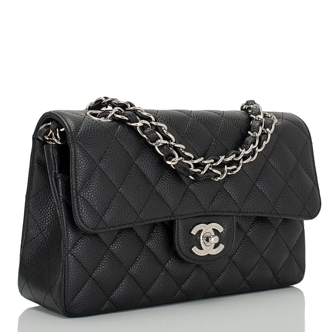 Chanel black Small Classic double flap bag of quilted caviar leather with silver tone hardware.